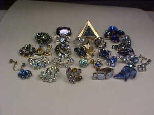 Vintage Blue Rhinestone Single Earrings - Lot of 26