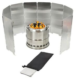 Foldable High Quality 10 Plates Camping Cooker Gas Stove Wind Shield Outdoor UK