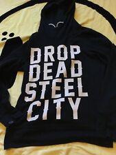 DROP DEAD CLOTHING STEEL CITY JUMPER HOODIE BLACK UNISEX SMALL S OLI SYKES BMTH