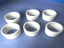Six Vtg Oval Ceramic / Porcelain Napkin Holders Creamy White Ribbed, Tapered