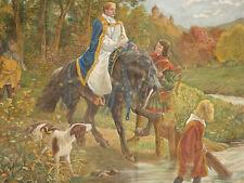 Historismus Wandbehang 19. Jhdt Rudolf von Habsburg signiert Abtei Ottobeuren XL