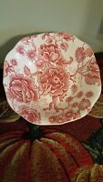 """VINTAGE JOHNSON BROS ENGLISH CHIPPENDALE Red/Pink SQUARE SCALLOPED SALAD BOWL 6"""""""