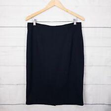 Sunny Girl Womens Skirt 14 Knit Stretch Cotton Pencil Blue Work Winter Warm A208