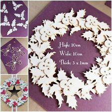 Scrapbook die cut-out MDF large craft  toppers cardmaking Holly Wreath