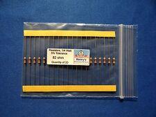 Resistors, carbon film, 1/4 watt, 5%, axial leaded, 82 Ohm - QTY of 20