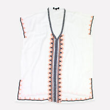 NEW LOOK White Holiday Kaftan Cover Up Dress Tunic Summer Beach Wear V Neck