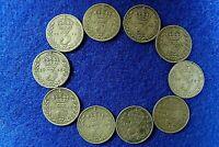 10 x British Silver 3d Threepence 1911 - 1919 Titanic World War I King George V