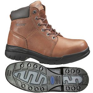 """Wolverine work Boots Mens Marquette Brown Leather Steel-Toe Boots EH 6"""" W04713"""