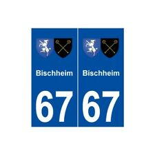 67 Bischheim blason autocollant plaque stickers ville -  Angles : droits