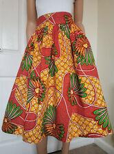 'STEPHANIE' African Printed MID-CALF Skirt 100% Wax Cotton Handmade UK