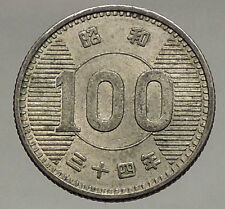 1959 Year 34 -Asia - JAPAN - Silver 100 Yen Coin - Sheaf of JAPANESE Rice i56763