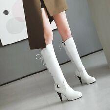 Womens Lace Up Buckle High Heel Stiletto Platform Round Knee High Knight Boots