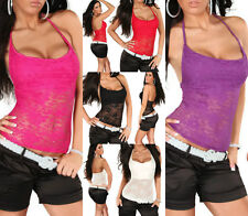 5 Colours Womens Sheer Floral Lace Strappy Halter Bacless Vest Top Sz 10 12