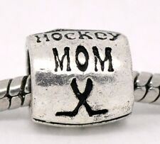 Hockey Mom Team Sports Coach Gift Spacer Charm for Silver European Bead Bracelet