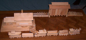 HANDMADE WOODEN TRAIN SET - 11 Pieces, Pine, Unfinished, Exquisitely Made!