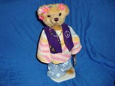 """1999 Brass Button Bear Hippie Flower Child IVY 12"""""""