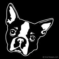 BOSTON TERRIER DOG PORTRAIT DECAL-DOGS STICKER ART -NEW