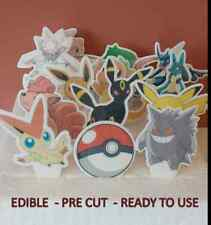 """16 x PRE CUT - 2"""" POKEMON Edible Stand Up Cup Cake Muffin Toppers Decorations"""