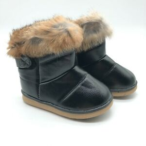 Toddler Girls Winter Boots Faux Fur Lined Faux Leather Black Size 28 US 9