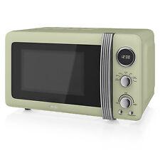 Swan Sm22030gn Retro Standing Microwave 20l 800 Watt Green