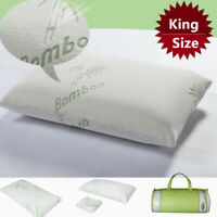 King Size Bamboo Fiber Pillow Hypoallergenic Cool Memory Foam Premium Firm Bed