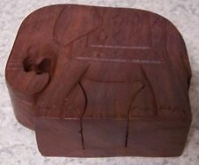 Wood Jewelry Puzzle Box Indian Elephant NEW