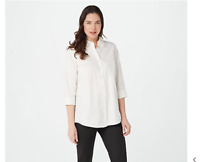 Joan Rivers Large White 3/4-Sleeve Button Front Shirt w/ Tiered Back Ruffles