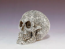 SILVER SKULL SKELETON HEAD  FIGURINE STATUE  HALLOWEEN