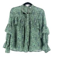 Lucky Brand Small Ruffle Peasant Top Blouse Neck Tie Green Paisley Boho Womens