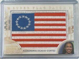 ALEXANDRIA OCASIO-CORTEZ 2020 LEAF DECISION US FLAG PATCH SILVER FOIL CARD RARE