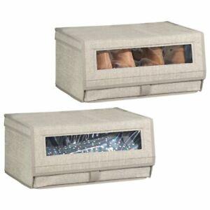 mDesign Fabric Shoe Storage Box, Clear Window, Hinged Lid, 2 Pack - Linen/Tan