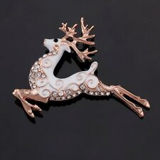 Prancing Stag Reindeer Cream Enamel Crystal Golden Christmas Brooch Pin Gift