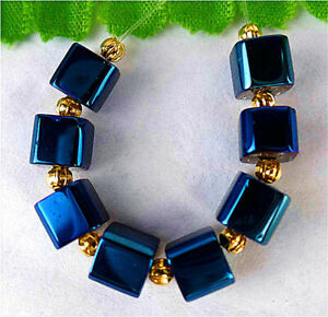 7mm 8Pcs Blue Titanium Crystal Cube Height Hole Pendant Bead BT89193