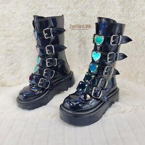 Emily 330 Black Patent Holo Platform Heart Combat Punk Boots RESTOCKED NY