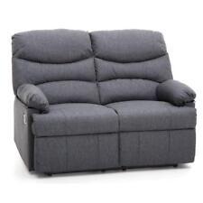 Divano karol 2 posti recliner relax tessuto blu reclinabile per casa ufficio