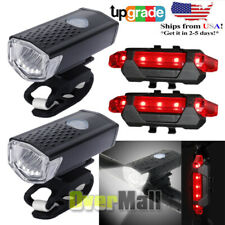 2x USB Rechargeable Bike Front Headlight Tail Light Set Waterproof Bicycle Light
