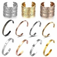 Men Women Stainless Steel Letter Cuff Bracelet Bangle Couple Family Chic Jewelry