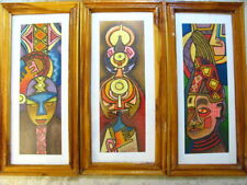 Oladapo Alao African Artist Signed 3 Original Paintings