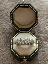 Antique Victorian 18ct Gold Diamond Two Row Ring With Box