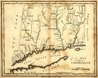 A4 Reprint of American Cities Towns States Map Connecticut