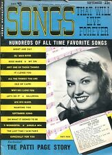 SONGS THAT WILL LIVE FOREVER MAGAZINE - SEPTEMBER 1954 - PATTI PAGE COVER