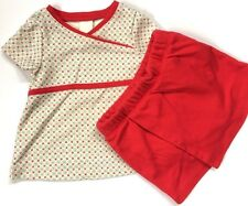 Tea Collection 6-12 Months Top & Skort Outfit Red Sage Green Flowers Skirt Girls