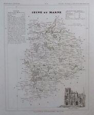 Carte Département Seine et Marne gravée sur acier par Alés Petit Atlas National