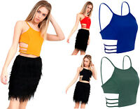 Cut Out Side Crop Top Ladies Cami Strappy Sleeveless Tank Tees Party Womens