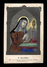 santino incisione 1800 S.CHIARA D'ASSISI  dip.a mano