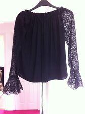 M&S Limited Edition Black Bardot Top Blouse Size 6 Lace Boho Hippy Festival Sexy