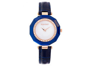 Ellen Tracy Rose Tone Swarovski Element White Mother Of Pearl Blue Watch J