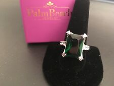 Size 11 Palm Beach Jewelry Emerald Cut Ring in Silvertone with CZ Band
