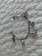 """Sterling Silver Girl's SOCCER Theme Enamel Sneakers & Ball Charms 7"""" Bracelet"""