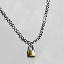 Black Chain Padlock Lock Pendant Charm Choker Necklace Punk Goth Valantine
